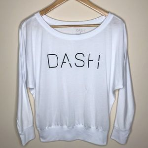 DASH Kardashian White Long Sleeve Sheer Top